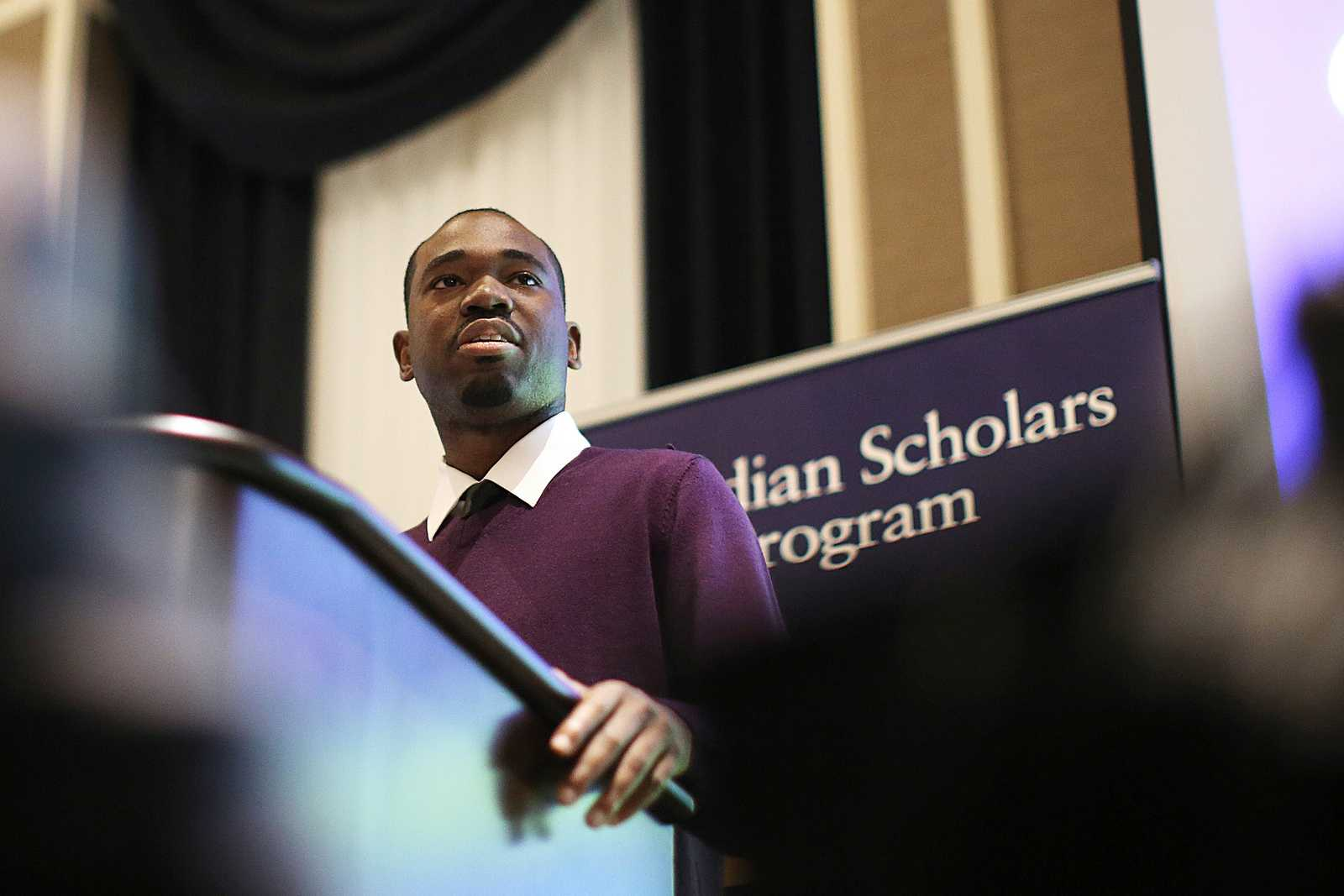 SF State student Lewis Woods, keynote speaker for the 5th annual Guardian Scholars Program Luncheon, gives a speech at the Sir Frances Drake Hotel on Oct 18. The Guardian Scholars Program is a SF State organization designed to help children in the foster care system transition into college life. Students in the Guardian Scholars Program have an 85 percent graduation rate. Photo by John Ornelas / Xpress