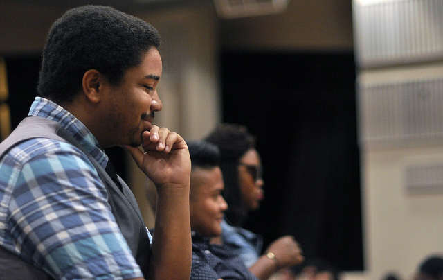 SF State's Voice judge Kenneth Collins, left, listens to contestants during the audition performances inside Jack Adams Hall in San Francisco Monday, Oct. 1, 2012. Godofredo Vasquez / Xpress File Photo