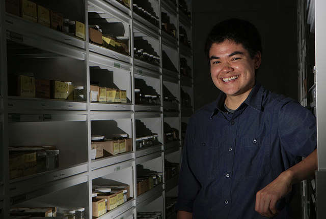 Shayle Matsuda stands in the specimen storage in the California Academy of Sciences in Golden Gate Park in San Francisco, Calif., on Monday September 15, 2014. Daniel Porter / Xpress.