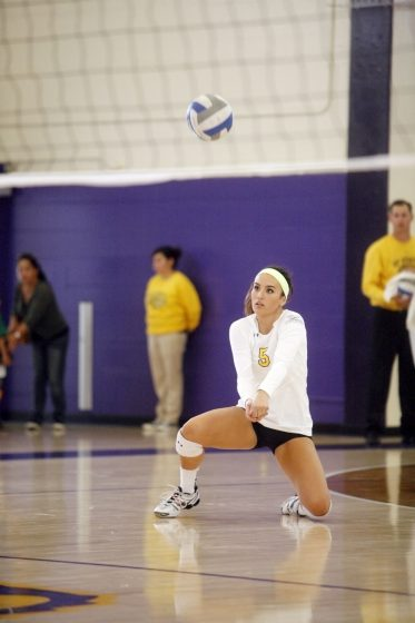 Jessica Nicerio of the SF State Gators digs the ball back to the CSU Dominguez Hills Toros during a match Saturday, Oct. 18, 2014. The Gators won the match 3-0. Martin Bustamante / Xpress.
