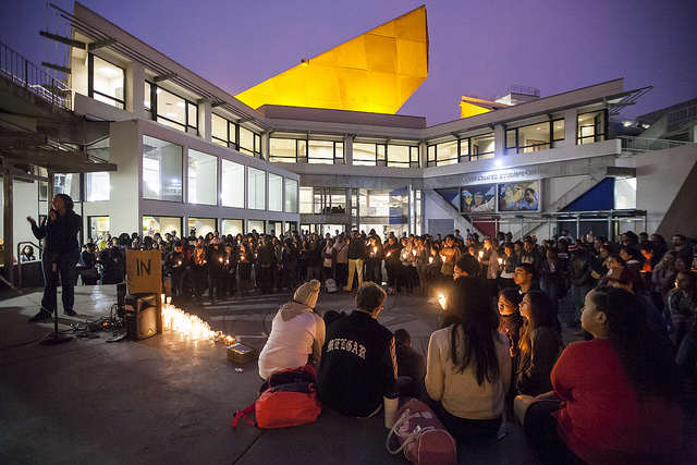 Mourners and observers gathered in Malcolm X Plaza for slain SF State student Mark Madden at candlelight vigil Wednesday, Oct. 8., 2014.