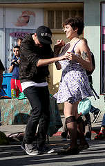 Clark Alexander Bernard and Alexandra Carcache dance to Talk of Shamans set, as the SF band plays for people at the Ocean Beach Music and Art Festival Saturday, Oct. 11, 2014. Lorisa Salvatin / Xpress.