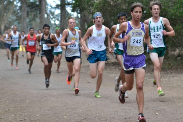 Michael Garaventa leads a pack during the cross country invitational at Speedway Meadow in Golden Gate Park Friday, Oct. 10, 2014. Annastashia Goolsby / Xpress.