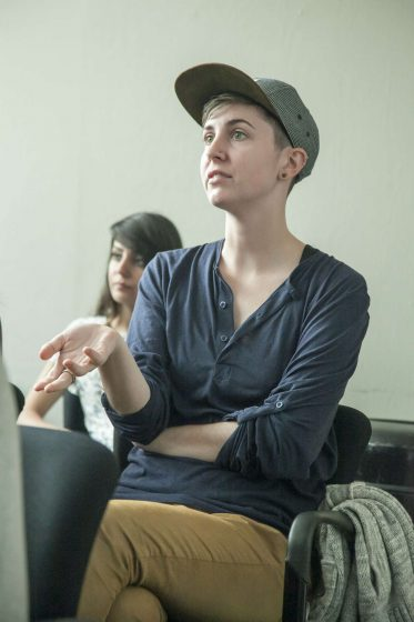 Heather Russell, a senior visual communication major, asks a question after a presentation on factory farming Thursday, Nov. 6, 2014. Martin Bustamante/Xpress.