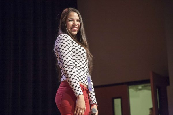 Singer Stephanie Gatica smiles at the crowd before going into her set at the Student Talent Showcase in Jack Adams Hall Thursday, Oct. 29, 2014. Martin Bustamante/Xpress.