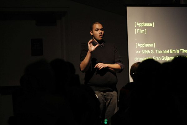 Samuel Leath, an ASL translator, does sign language for the crowd members at the Superfest International Disability Film Festival at the Contemporary Jewish Museum in San Francisco, Calif., Sunday, Nov. 2, 2014. Daniel Porter/Xpress.