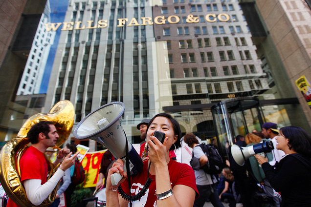 PHOTOS: OccupySF protesters block entrance of Wells Fargo headquarters
