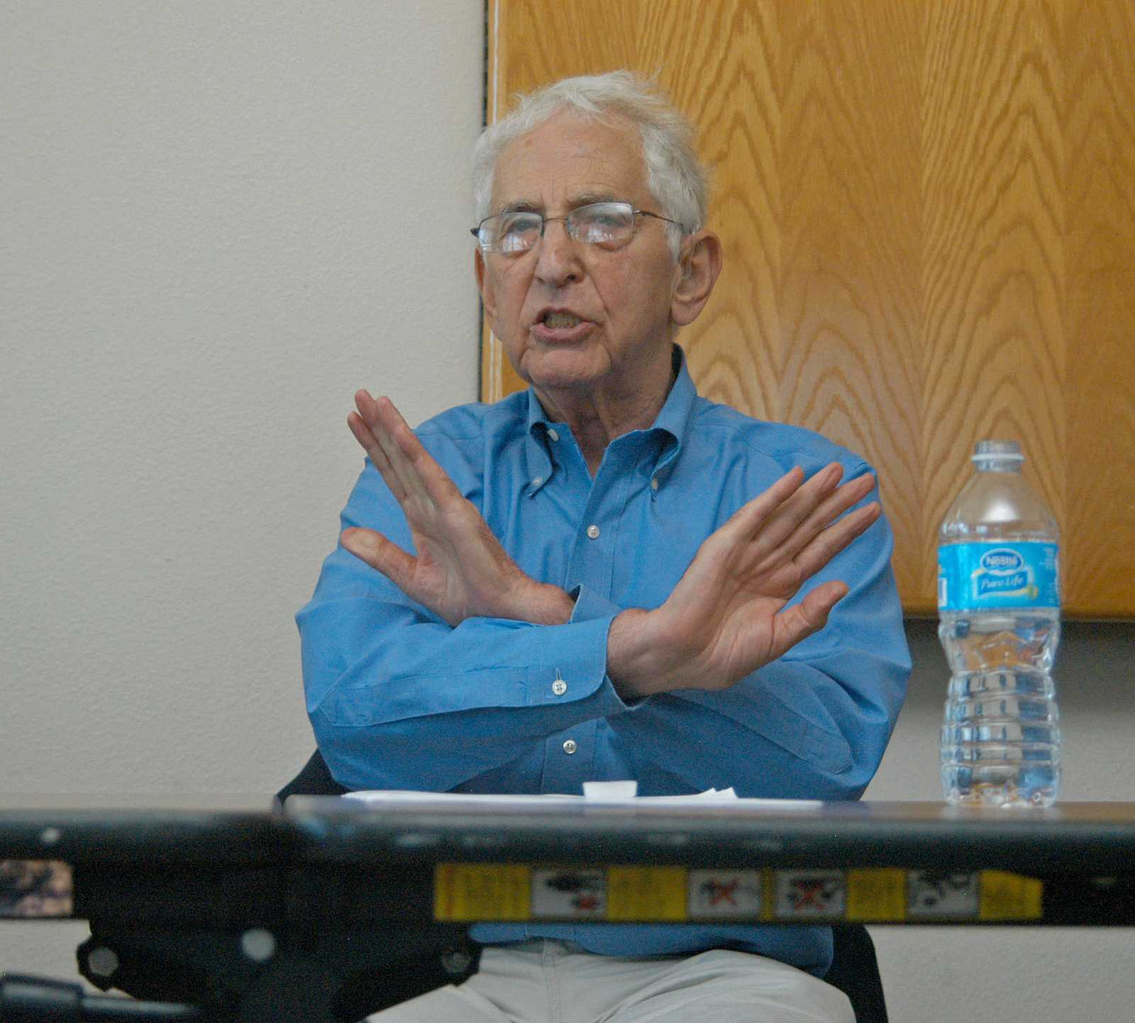 Daniel Ellsberg, known for leaking the Pentagon Papers and key speaker, answers a question during the
