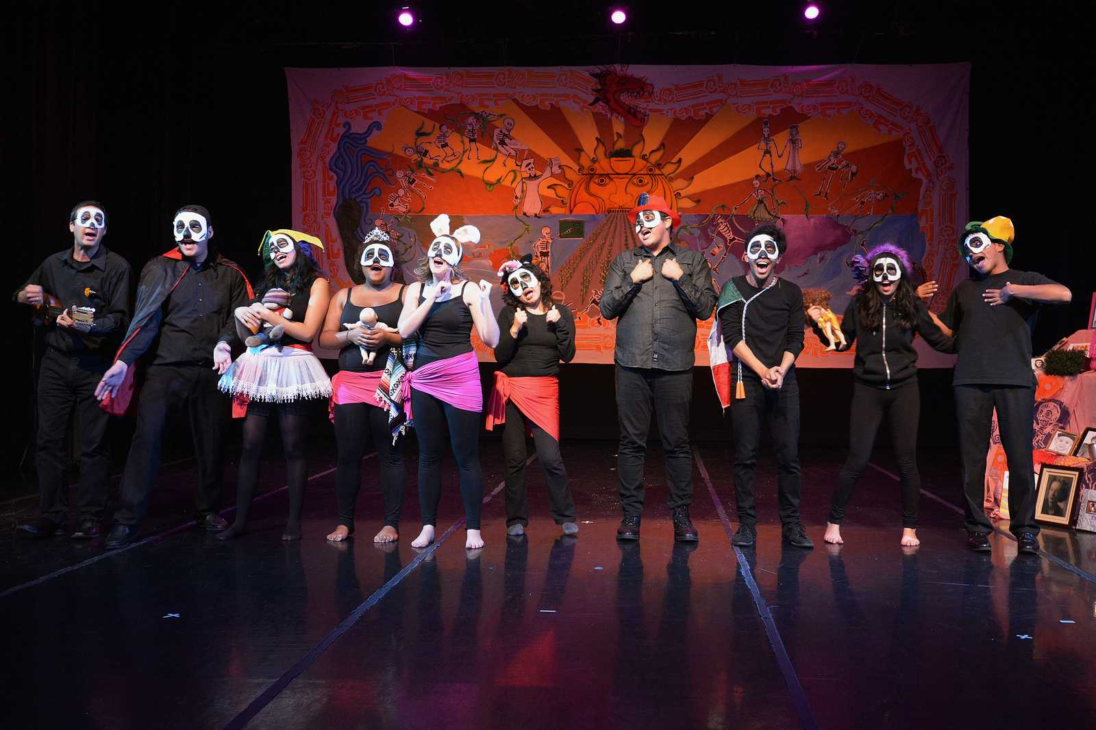 The cast of The Still Life Cabaret (Cabaret de Naturaleza Muertas) sing a final song during their first show at Dance Mission Theater in San Francisco, Calif., on Nov. 1, 2013. Photo by Philip Houston / Xpress