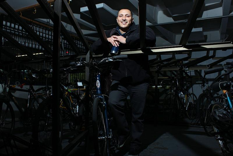 Senior environmental studies major and the Health and Social Sciences Representative for the Associated Students, Inc., Miguel Guerrero, stands in the campus Bike Barn, Tuesday Jan. 28, 2013. Photo By Tony Santos / Xpress