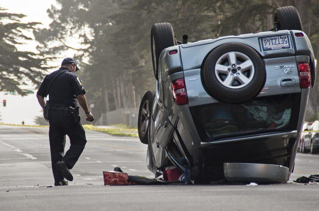 Driver blacks out on Lake Merced Blvd, car overturned