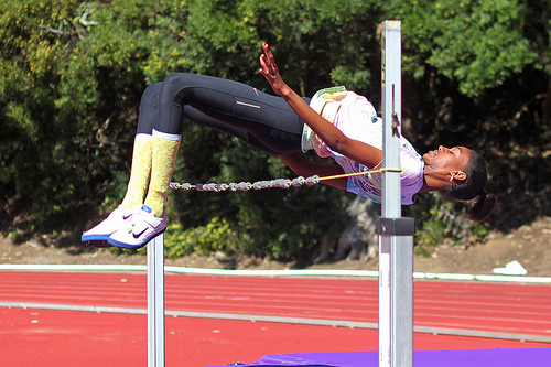 Senior high-jumper places third in championships, named All-American