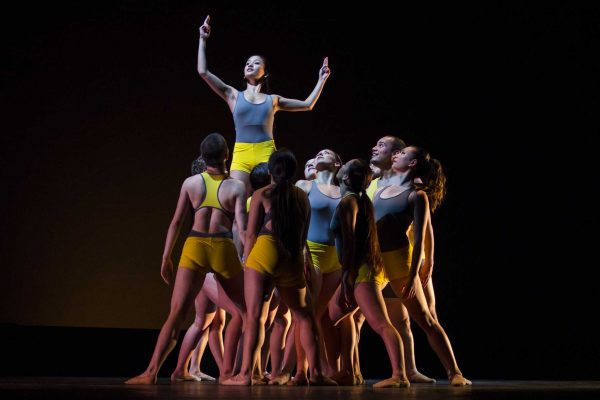 "Members of the University Dance Theatre perform a piece entitled ""Korkoro Uhuru"" during the dress rehearsal for ""Lifesaving Maneuvers"" Wednesday, April 9. Photo by Tony Santos / Xpress"