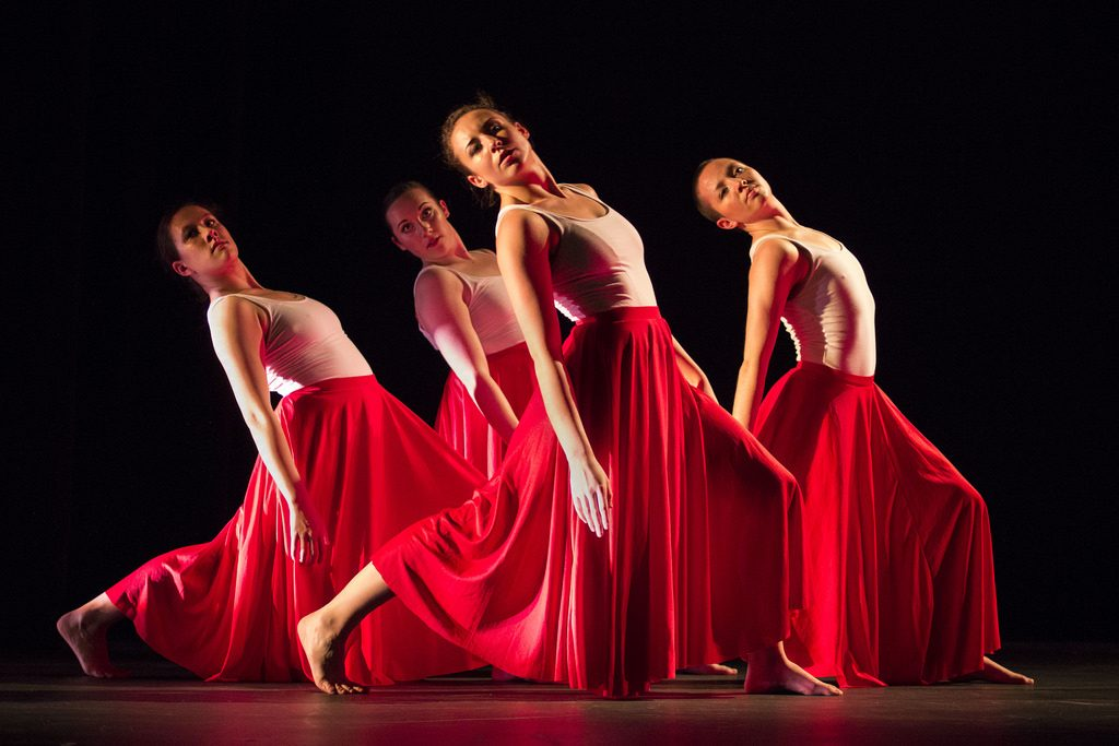 Members of the University Dance Theatre perform a piece entitled