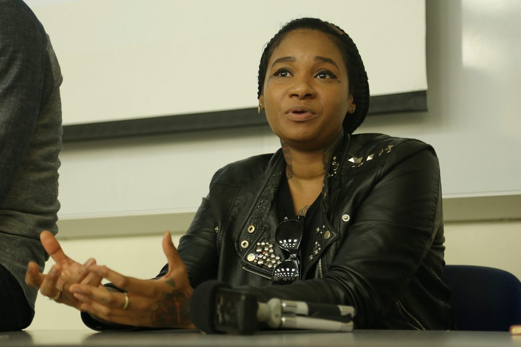 Hip-hop artist Jean Grae Workshop class answers questions in room HSS 135 at SF State Wednesday, April 23.