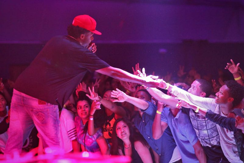 Iamsu! reaches for the crowd during his concert at The Annex on Friday, April 18.