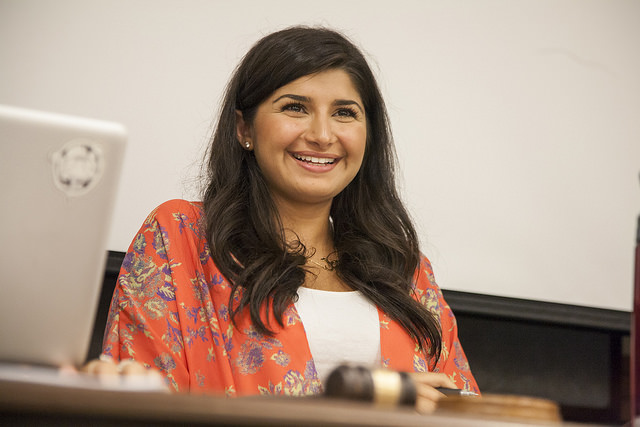 Newly appointed Associated Students, Inc. (ASI) president, Sara Padash, reacts to a joke during a full board meeting Wednesday, Aug. 27, 2014. Martin Bustamante / Xpress