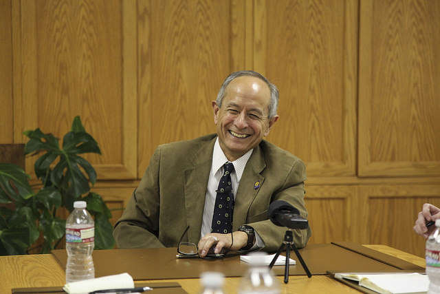 SF State President Les Wong answers questions during an interview given by Xpress editors in the Administration Building Wednesday, Sept. 17, 2014.