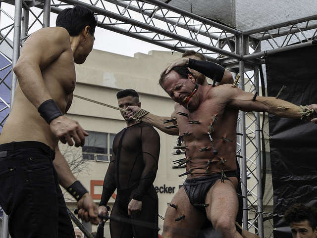Participants in Kink.com's exhibition team give a demonstration during Folsom Street Fair in San Francisco, Calif. Sunday, Sept. 21, 2014.