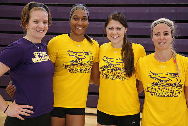 Coach Jill Muhe (left) and graduating seniors (left to right) Jazmine Williams, Melissa Horton and Jacquie Brice.