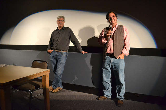 Guest speakers David Watchtenheim (left) and Rob Marianetti (right) visit the SF State cinema department to do an early screening of their latest work, a short cartoon documentary dealing with depression Wednesday, Sept. 10, 2014.