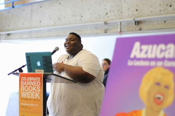 Jari Bradley recites a formerly banned poem during Banned Books week in the Cesar Chavez Student Center Thursday, Sept. 25, 2014. Ryan Leibrich / Xpress.