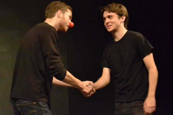 "SF State students Ethan Fry (left) and Kyle Merryman (right) perform William Shakespeare's ""As You Like It"" during the 2nd annual Opening Day Festival hosted by the College of Liberal & Creative arts Sunday, Sept. 28, 2014. Annastashia Goolsby / Xpress."