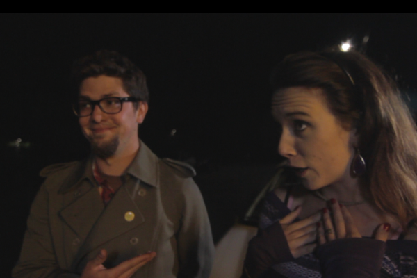"Characters Henry (Daniel Thibodeaux) and Laura (Kaitlin Clancey) get confrontational after a minor car accident in ""One Man Show,"" filmed by alum Jonathan Salazar. Matthew Cassani / Special to Xpress."