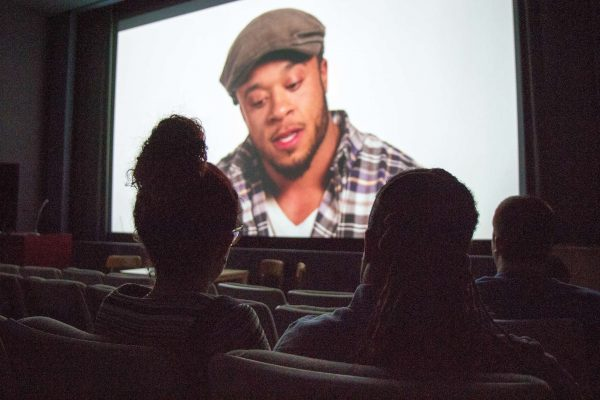 """Sweethearts Kingston Faraday and Amaryllis DeJesus Moleski, both actors in the film """"Black is Blue,"""" attend Queer Shorts, a screening of SF State faculty and alumni films on Thursday, October 9, 2014, in the Coppola Theater. Eric Gorman / Xpress."""