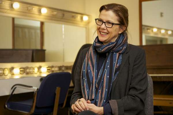 Annette Bening sits in a dressing room in the Creative Arts Building Friday, Oct. 10, 2014. Frank Ladra / Xpress.