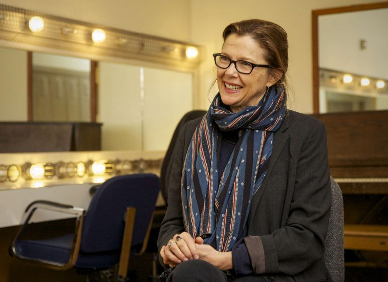 Annette Bening sits in a dressing room in the Creative Arts Building Friday, Oct. 10, 2014.