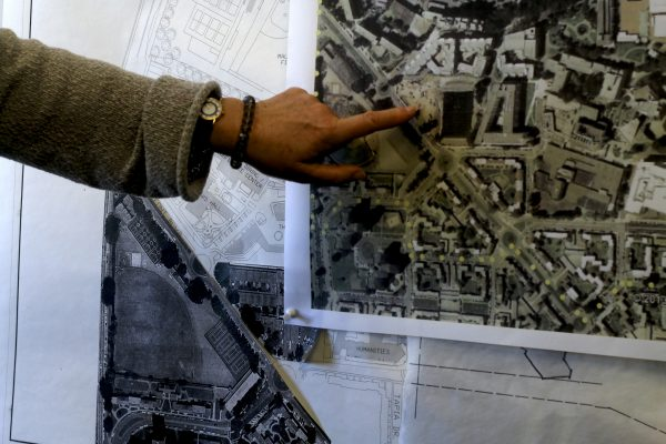 Wendy Bloom, Campus Planner points on a map where the wellness center is being built at SF State at Font Boulevard and Lake Merced Boulevard across from Mary Park Hall Monday, Oct. 13, 2014. Amanda Peterson / Xpress.