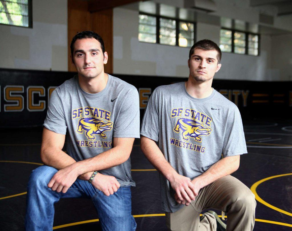 Redshirt seniors Andrew Reggi and Vicente Aboytes in the SF State wrestling room, where they train and practice, Friday, Oct. 26, 2014. Both said they were looking forward to what is to come this season as they enter their fifth year on the SF State wrestling team. Lorisa Salvatin/Xpress.