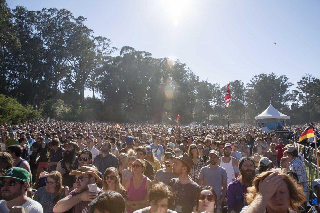The crowd during Built to Spill's performance at Hardly Strictly Bluegrass Festival Saturday October 4, 2014.