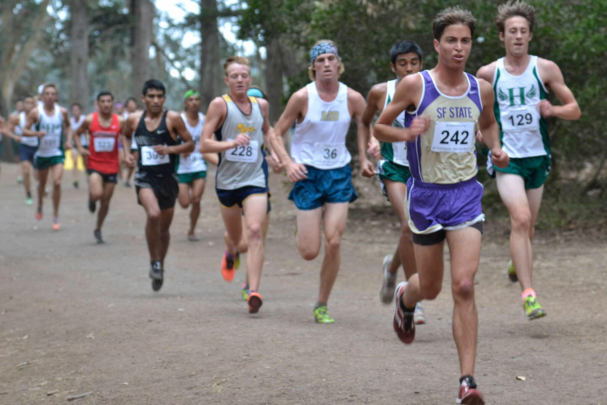 Michael Garaventa leads a pack during the cross country invitational at Speedway Meadow in Golden Gate Park Friday, Oct. 10, 2014.