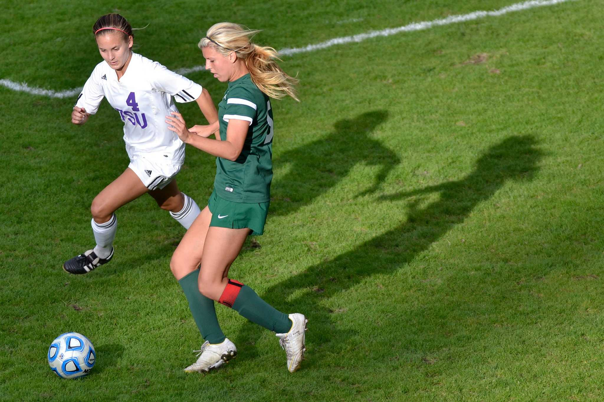 SF State player Autumn Fox tries to steal the ball from Megan Kisslan during a home game against Cal Poly Pomona Friday, Oct. 17, 2014. The Gators lost 1-0 against the Broncos.