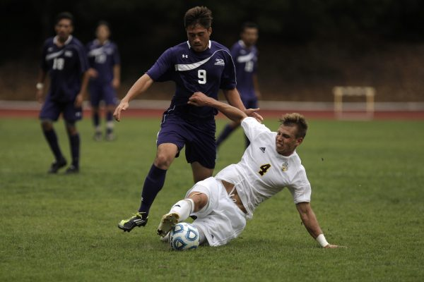 SF State Gator Jakob Velega, #9 freshman, fights for possession of the ball from UC San Diego Triton Kuba Waligorski, #4, during the soccer game at Cox Stadium Sunday, Oct. 19, 2014.  The Gators beat the Tritons 2-0.  Daniel Porter/Xpress.