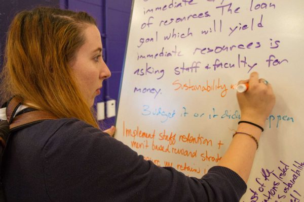 Marli Diestel, an environmental studies major, expresses concerns about sustainability on a dry erase board during the Academic Senate's Strategic Plan meeting in the SF State Gymnasium Tuesday, Oct. 21, 2014. Eric Gorman/Xpress.