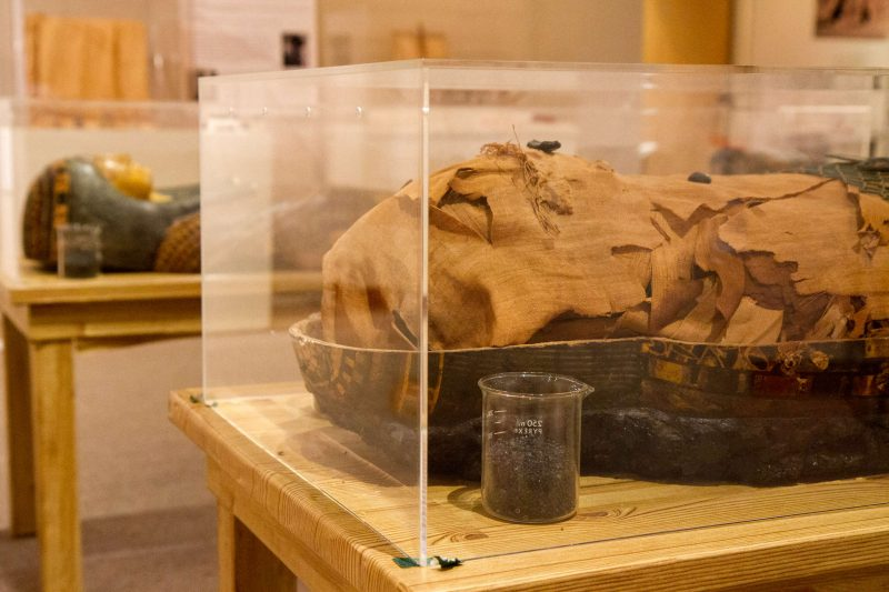 Nes-Per-N-Nub rests beside the lid to his inner sarcophagus while the two outer sarcophagi stand on display in the background Tuesday, Oct. 21, 2014.