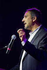 Dr. Hatem Bazian, a professor at the University of California, Berkeley and co-founder of Zaytuna College, speaks at the 7th Annual Edward Said Mural Celebration in the SF State Student Event Center on Wednesday, Nov. 5, 2014. Eric Gorman/Xpress.