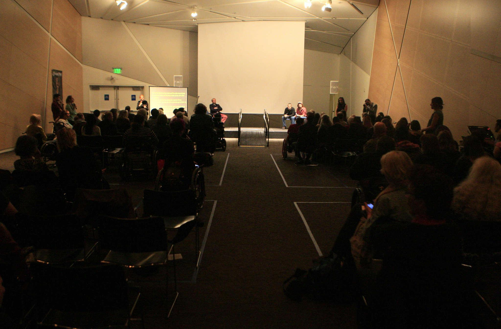 The audience gets a chance to ask questions about the films shown during Superfest, the International Disability Film Festival at the Contemporary Jewish Museum in San Francisco, Calif., Sunday, Nov. 2, 2014.