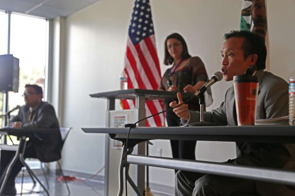 San Francisco Supervisor David Chiu speaks during a debate with Supervisor David Campos at SF State's J. Paul Leonard Library Wednesday, April 16, 2013. Rachel Aston/Xpress.