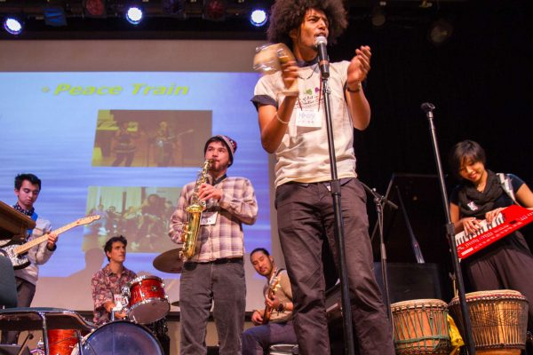A band led by Mazin Mahhoub performs at the Future of Healthcare Conference 2014 in Jack Adams Hall at SF State Saturday, Nov. 8, 2014. Eric Gorman/Xpress.