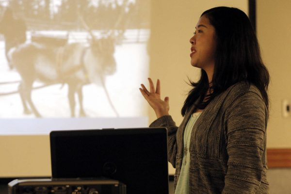 Nicole Sakioka, a senior international relations major, speaks about how she spent six months in Sweden during the International Education Week in the Cesar Chavez Student Service Center at the SF State Monday, Nov. 17, 2014. Daniel Porter/Xpress.