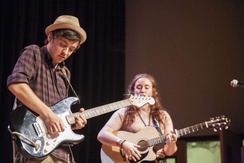 Fin May (left) and Rowie Walsh, members of Palladino, perform for the Student Talent Showcase in Jack Adams Hall Thursday Oct. 29, 2014.