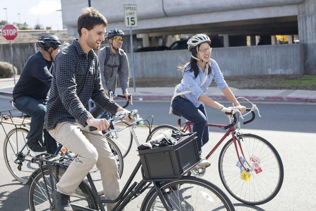 Mark+Dreger+%28left%29+and+Janice+Li+%28right%29+taking+biking+to+the+first+stop+of+prospective+sites+concerning+cycling+traffic+by+the+San+Francisco+Municipal+Transportation+Agency+Saturday%2C+Nov.+1%2C+2014.