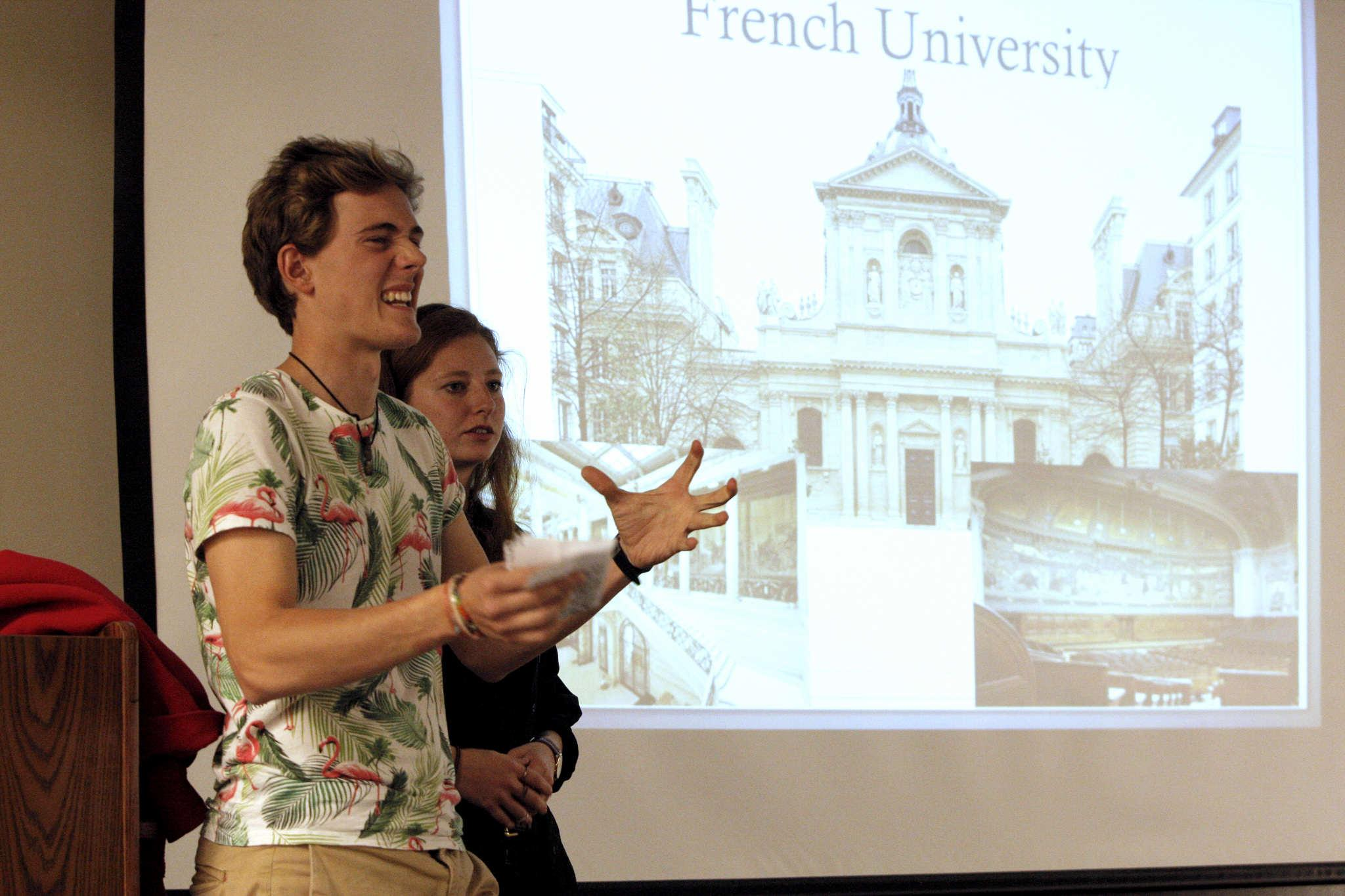 Parisian exchange students Brendon Novel and Auriane Denis-Loupof describe life in Paris during International Education Week in the Rosa Parks conference room in the Cesar Chavez Student Center Monday, Nov. 17, 2014. Daniel Porter / Xpress