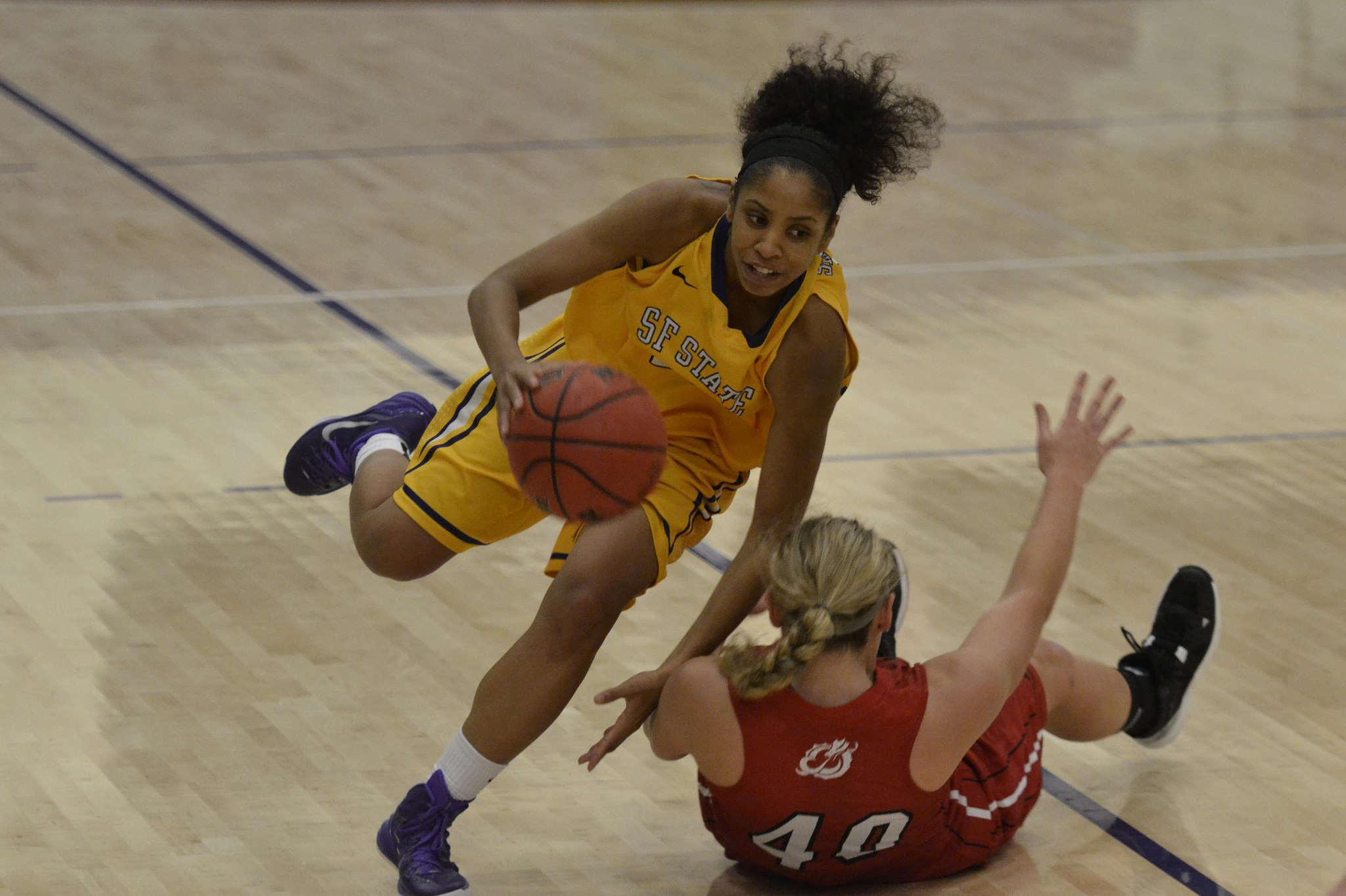 Minnesota's center Savanna Handevidt tries to draw a charging foul from SF State forward Michelle Sutton during a home game Thursday, Nov. 20. SF State Gators lost against the Minnesota Dragons 67-78. Annastashia Goolsby/Xpress.