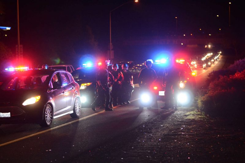 Police survey the scene as protestors shut down both directions of traffic on the I-980 freeway in Oakland, Calif. Tuesday, Nov. 25, 2014. Crowds have gathered for two days in a row after word that Ferguson police officer Darren Wilson would not be charged for killing teenager Michael Brown. Peter Snarr/Xpress.