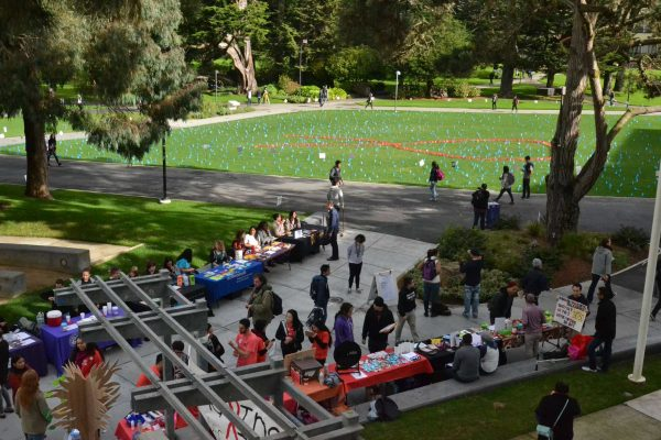 SF State honors staff and alumni that have passed away from AIDS on National AIDS day Monday, Dec. 1, 2014. Each flag represents a person who has passed, and around the perimeter are signs bearing some of their names. Helen Tinna/Xpress.
